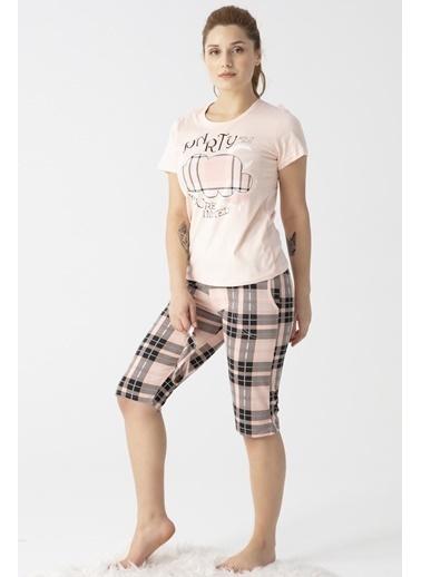 Pemilo Kadın 3100-2 Ekose Desenli Göz Bantlı Kısa Kol Kapri Pijama Takımı SOMON Somon